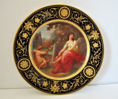 Fine Quality Royal Vienna Plate w/ Women and Child In Rose Garden Signed Pohl