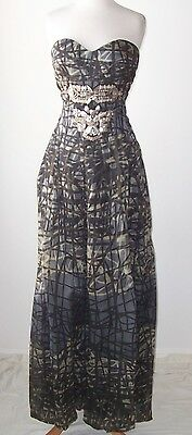 CHRISTIAN LACROIX Silk Print Metal Jeweled Strapless Bustier Dress Gown 42 8 10