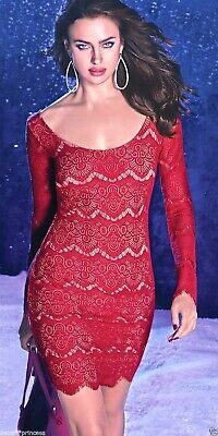 NWT bebe red long sleeve boat neck overall lace open back top dress XL 12