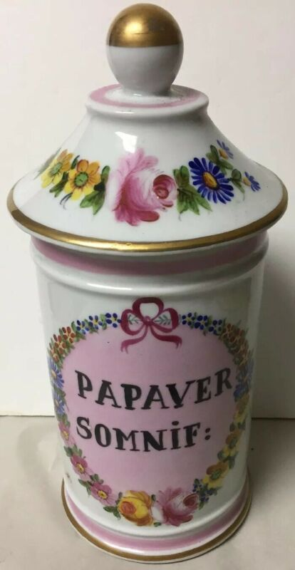 ANTIQUE PORCELAIN DRUGSTORE APOTHECARY JAR FOURNIER FRENCH, PAPAVER SOMNIF