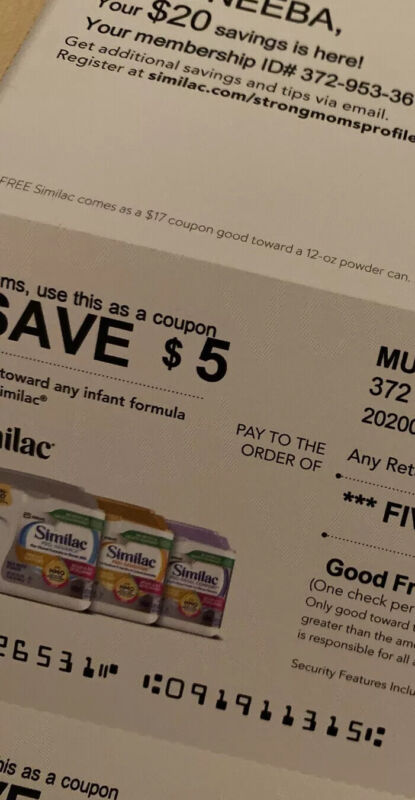 similac coupons checks $20 total (4 $5 Checks)