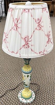 Vintage Wooden Hand Painted Table Lamp Flowers w/Ribbon Shade Tall Works ()
