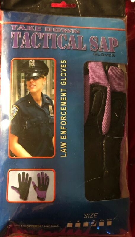 """GENUINE """"TAKEDOWN """"Weighted SAP GLOVES BLACK LEATHER WITH PURPLE NYLON  SIZE XL"""