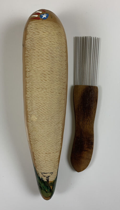 Two (2) Guiros In One. Gourd Guiro Original Cut With 2 Playing Surfaces