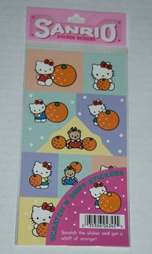 1995 sanrio HELLO KITTY scratch n sniff stickers ORANGE