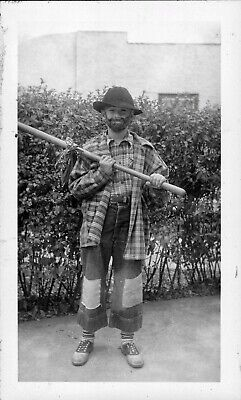 2 Vintage 1940's Old Photos of Boy Dressed in Hobo Costume for Halloween