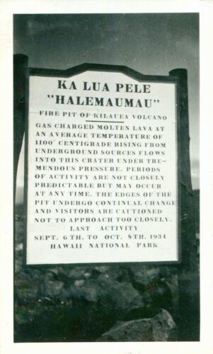 1930s Kilauea Volcano Hawaii Photo sign for  Ka Lua Pele, Halemaumau Fire Pit