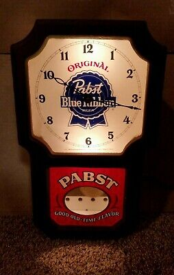 Pabst Blue Ribbon Beer Old-time Clock Light Vintage 1970's Electric Wall Blue