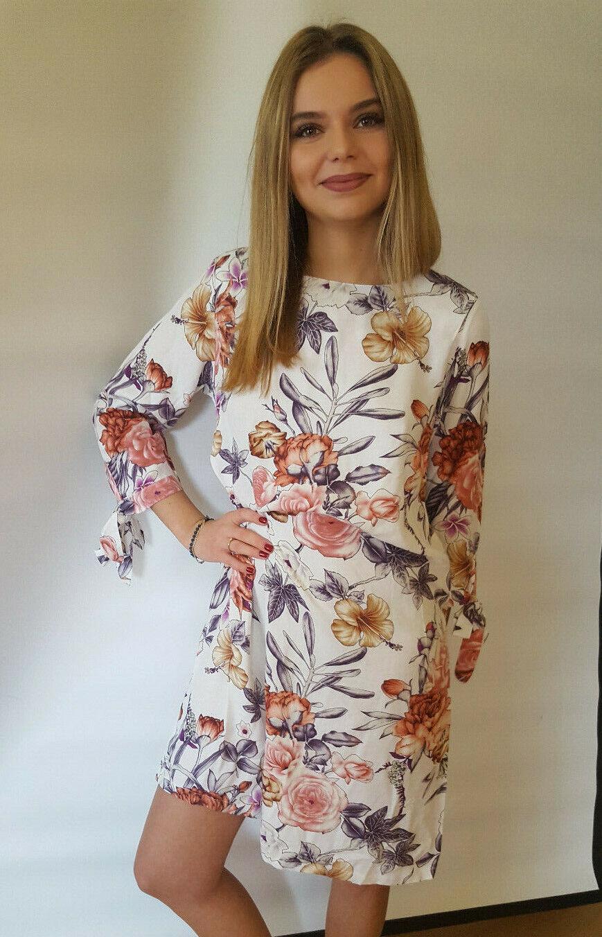 Boho Damen Kleid Sommer Blumen weiß Longshirt Tunika Bluse Hemdkleid 36 - 54 neu