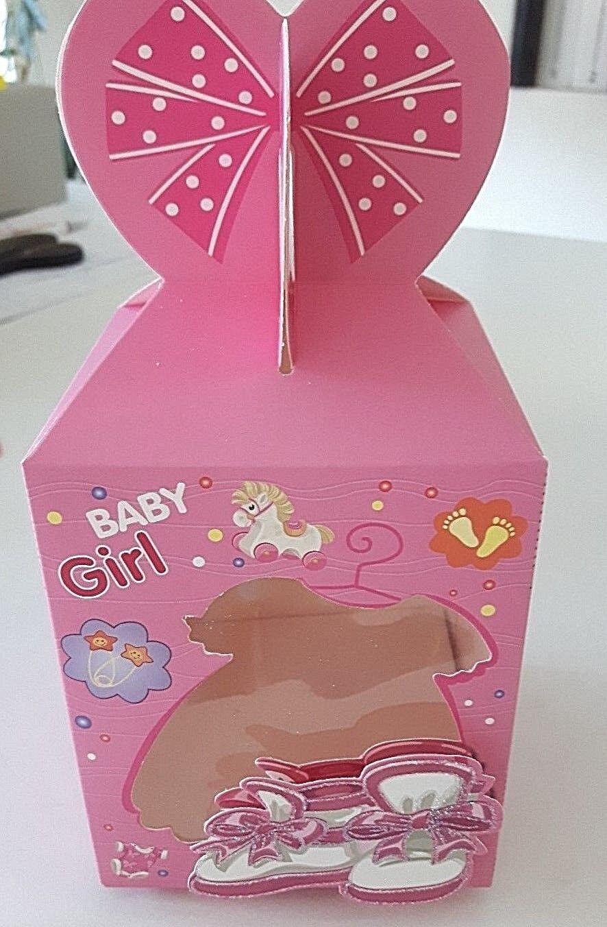 Geschenk Verpackung Baby Geburt Taufe Karton rosa  Faltschachtel Fenster Schuhe