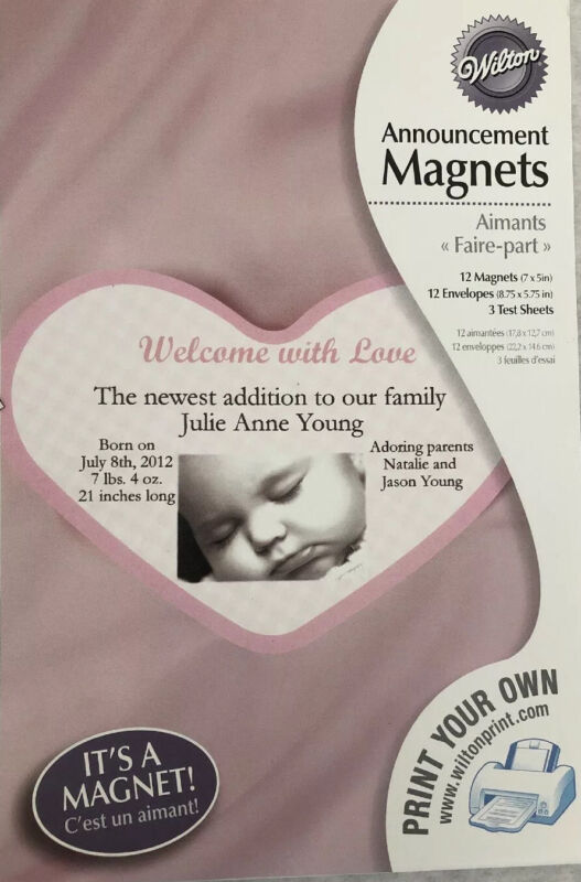 12 Birth Announcement Magnet Cards Envelopes Print Your Own Pink Heart Baby Girl