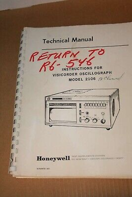 Honeywell Instructions For Model 2106 Viosicorder Oscillograph Tech Manual