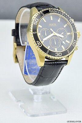 FREE Ship USA Unisex Watch GUESS Black Leather Multifunction New U0171G3