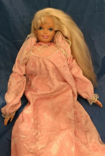 Vintage Mattel 1995 Bedtime Barbie Soft Body Doll Pink Nightgown RARE 90s - $6.47