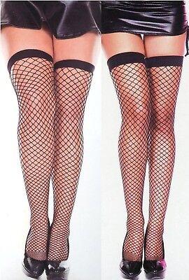Music Legs 4930 Q Women Mini Diamond Net Thigh High Stockings Reg or 1X Black