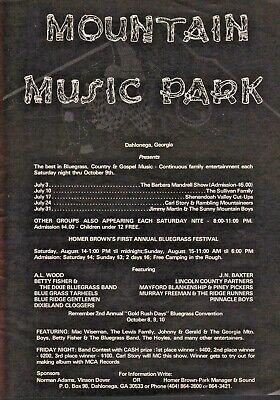 1976 Dahlogega Georgia Mountain Music Park Homer Brown Bluegrass - Vintage Ad