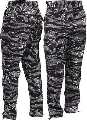 Men's Urban Tiger Stripe Camo Tactical Cargo Pants BDU Gray Vietnam Army Fatigue