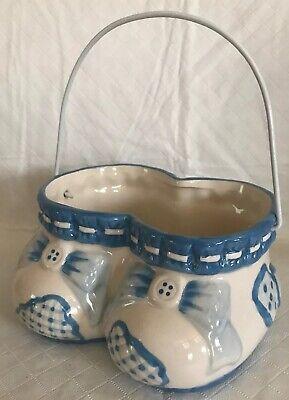 Burton + Burton Blue Ceramic Shoes Baby Boy Shower Decoration Planter Pail - Precious Moments Baby Shower Decorations