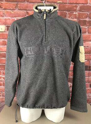 Vtg Tommy Hilfiger Spell Out 1/4 Zip Gray Pullover Fleece Sweater Mens XL (206)