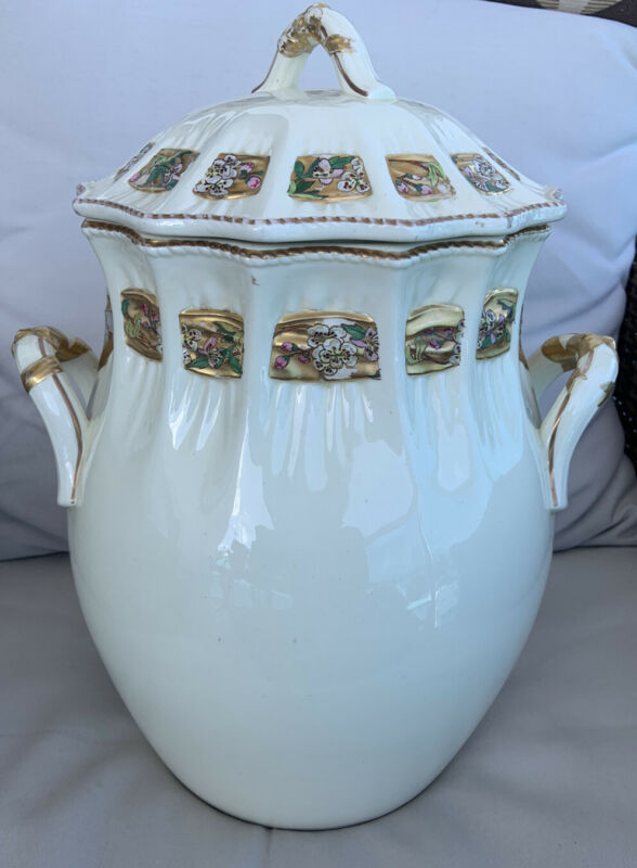 Rare Antique English Chamber Pot Master Waste Container Large Signed Ams Orient