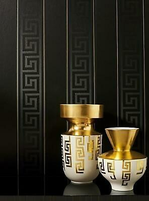 Versace Wallpaper Greek Key Stripe Black Gold Metallic Paste Wall Vinyl Textured