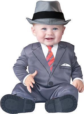 Baby Business Costume (Boss Baby Business Suit Costume Infant Toddler Gangster Hat Mob Mafia Man)