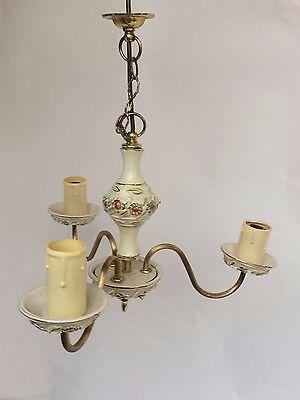 Vintage Floral Design Ceramic & Brass Ceiling 3 Arm Chandelier Light