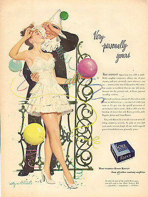 1950s vintage Ad for KOTEX Sanitary Napkins great Art by Coby Whitmore 103016
