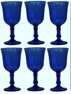 Set Of 6 Blue Stemmed Water Gles Wine 240ml Capacity Goblets
