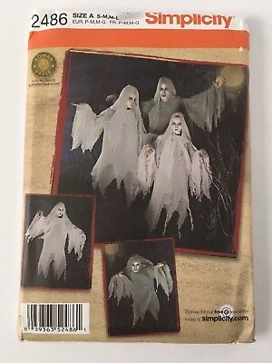 New Simplicity 2486 Ghost Ghoul Halloween Costume Pattern Teen Adult S/M M/L