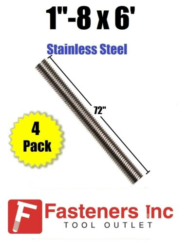 "(Bundle of 4 Sticks) 1""-8 x 72"" Stainless Steel Threaded Rod 304 All-Thread"
