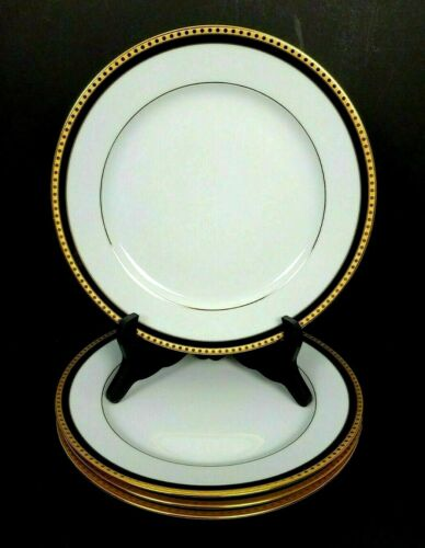 Set of 4 Tiffany & Co Limoges France DINNER PLATE Black Band Pattern 10 7/8""