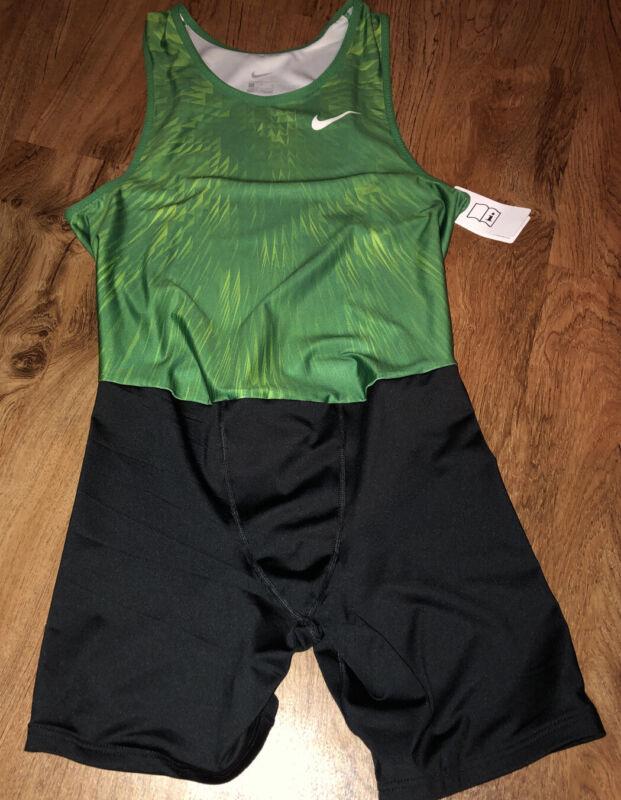 Nike BLACK GREEN Team Track / Wrestling Singlet Size Mens LARGE