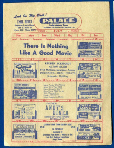 Fredericksburg, Texas Movie Flyer 87 Drive-in Palace Theater July 1960