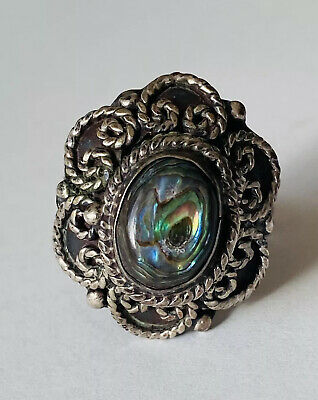 1940s Jewelry Styles and History 1940's VINTAGE TAXCO MEXICO STERLING SILVER ABALONE POISON RING ADJUSTABLE SZ 7 $99.99 AT vintagedancer.com