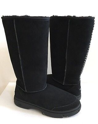 UGG ULTIMATE TALL BRAID BLACK SHEARLING LEATHER BOOT US 9 / EU 40 / UK 7.5 N, used for sale  Ventura