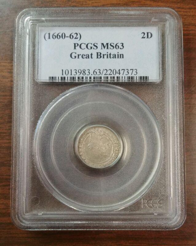 Great Britain 2 Pence (1660-1662) PCGS MS63 Silver Charles II Maundy Twopence.