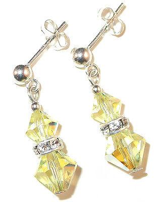 JONQUIL YELLOW Crystal Earrings Sterling Silver Dangle Swarovski Elements