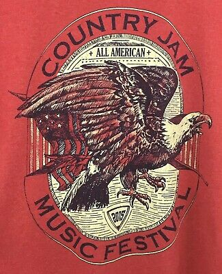 Country Music Jam 2015 Festival Concert T Shirt Eau Claire Wisconsin Red Large