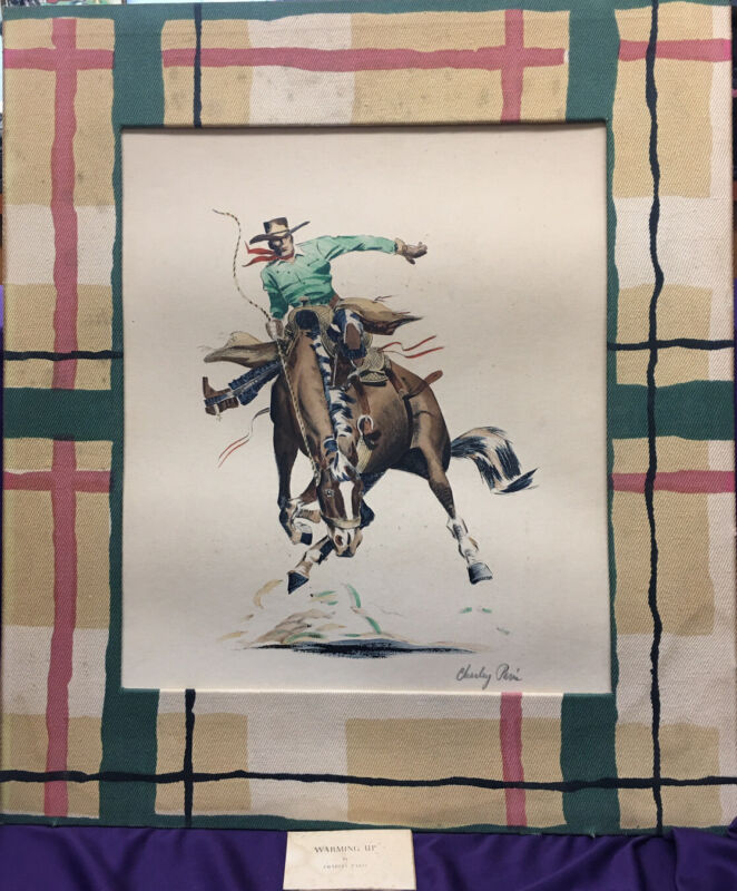 RARE Charley Paris Pencil Signed Western  Lithograph Warming Up Or Riding High