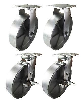 4 Heavy Duty Caster Set 8 All Steel Wheels Rigid Swivel And Brake