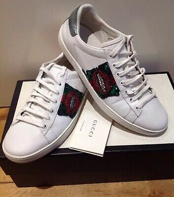 Gucci Ace Lip-embroidered Women's Sneakers  - Size 39.5