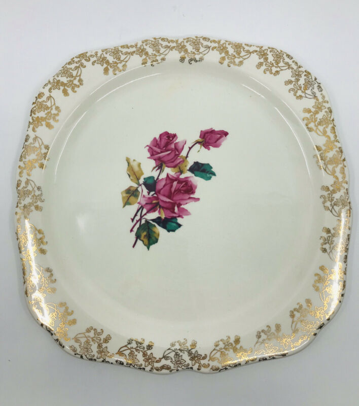 """Vintage LORD NELSON POTTERY Plate 10"""" Pink Roses Gold Gilt England #6-57 - MINT"""
