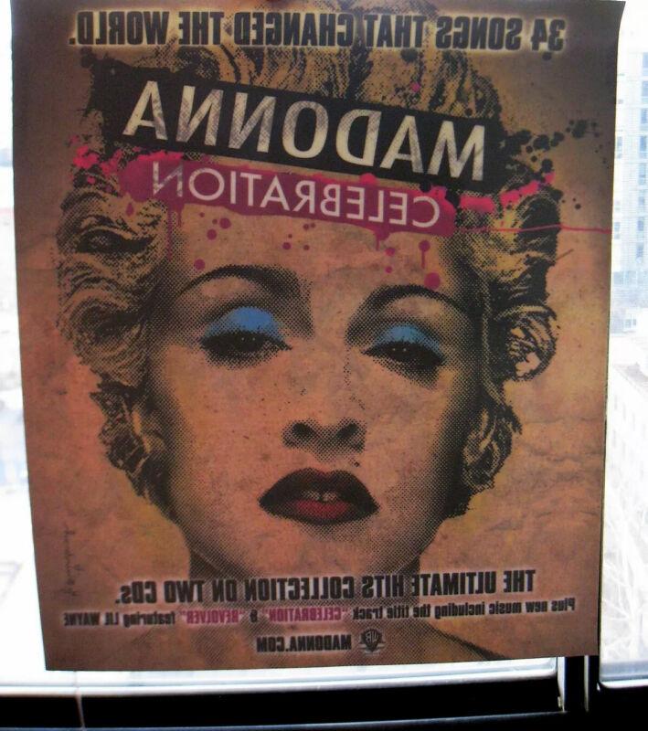 MADONNA CELEBRATION PROMO WINDOW DECAL NEW CHANGED THE WORLD BRAINWASH LP RECORD
