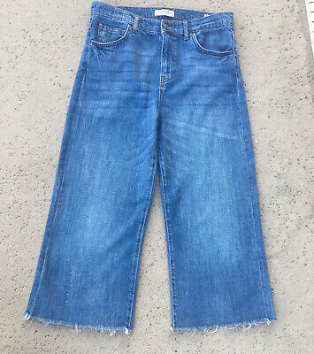 ZARA WOMAN PREMIUM DENIM COLLECTION 70'S TRIBUTE CROPPED BLUE JEANS -SIZE 6