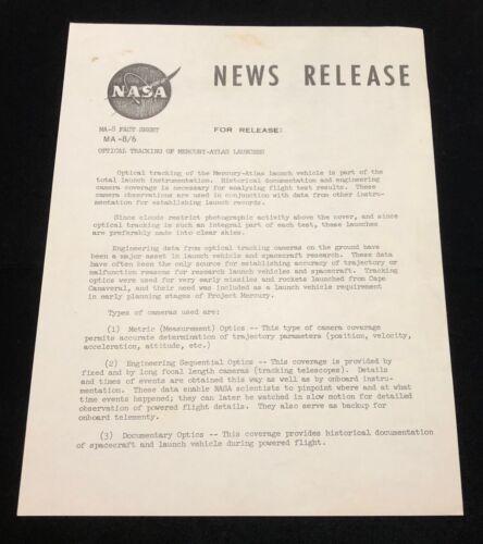 NASA MA-8/6  PRESS - NEWS RELEASE FROM MARY BUBB