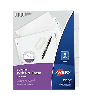 Avery Big Tab Write Erase Dividers 5-tab Set 23060