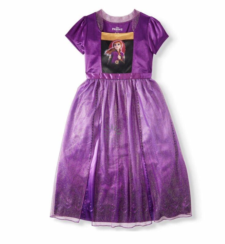 NWT DISNEY FROZEN 2 Girl Purple Sparkle Anna Nightgown Sleep Dress Sz 5T.