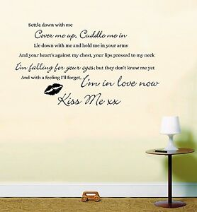 Ed Sheeran Kiss Me Song Music Lyrics Quote Sticker Wall