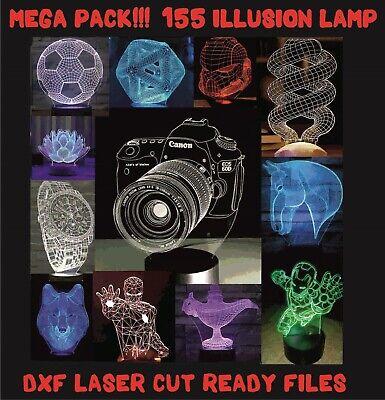 155 Dxfcdr Cnc 3d Illusion Lamp Files For Laser Plasma Cutter Waterjet